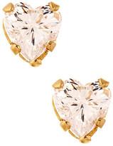 Candela 14K Yellow Gold Clear Heart CZ Stud Earrings