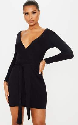 PrettyLittleThing Black Wrap Front Rib Knit Belted Dress