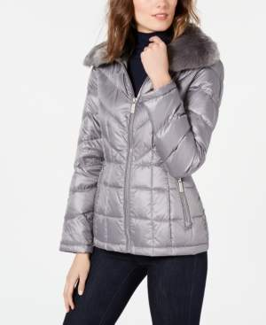Kenneth Cole Reaction Faux-Fur Collar Puffer Coat