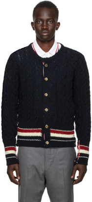 Thom Browne SSENSE Exclusive Navy Aran Cable Stripe Cardigan