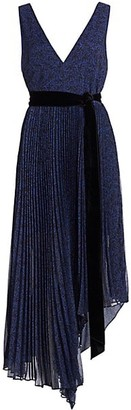 Alice + Olivia Aiden Asymmetrical Pleated Midi Dress