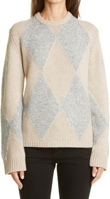 KHAITE The Daisy Harlequin Intarsia Cashmere & Silk Sweater