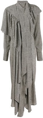 Petar Petrov Houndstooth Print Ruffled Dress