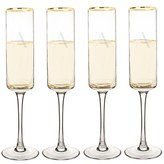Cathy's Concepts Set Of 4 Gold Rim Champagne Flutes