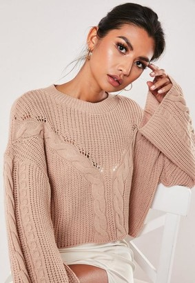 Missguided Pink Cable Knit Front Wide Sleeve Cropped Sweater