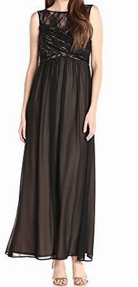 Sangria Women's Illusion Sweet Heart Yoke with Chiffon Bottom Gown