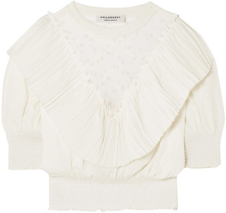 Philosophy di Lorenzo Serafini Embroidered Tulle-paneled Layered Pleated Knitted Top
