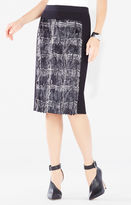 BCBGMAXAZRIA Ines Coated Plaid Faux-Fur Pencil Skirt