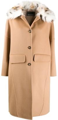 Ermanno Ermanno Faux Fur-Collar Single-Breasted Coat