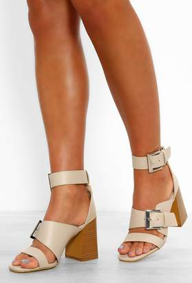 Pink Boutique So Essential Nude Buckle Detail Strappy Block Heels