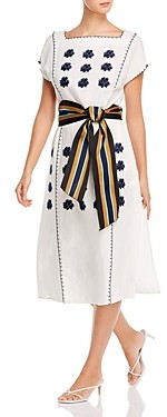 Tory Burch Floral Embroidered Striped-Belt Midi Dress