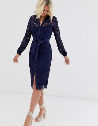 Paper Dolls lace shirt dress with tie waist in navy