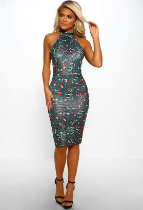 Pink Boutique Flirty and Fierce Green Lurex Animal Print Midi Dress