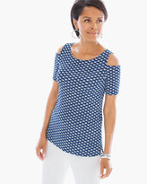 Chico's Woodblock Fans Cold-Shoulder Top
