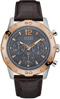 GUESS Men's Chronograph Caliber Brown Leather Strap Watch 46mm U0864G1