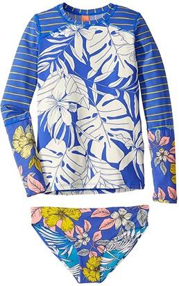Maaji Kids Turtle Bay Bubbles Rashguard Two-Piece Set (Toddler/Little Kids/Big Kids) (Pacific Blue Floral) Girl's Swimwear Sets