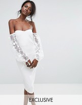 Missguided Bardot Embroidered Puff Sleeve Dress