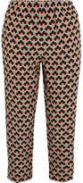 Marni Printed Silk Crepe De Chine Track Pants - Orange