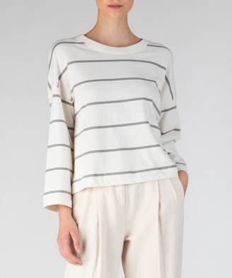 Atm Plaited Jersey Stripe Sweatshirt - Chalk/ Smoke Stripe