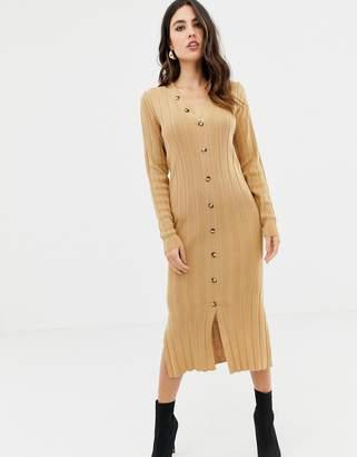 Asos Design DESIGN midi cardigan dress in rib knit-Stone
