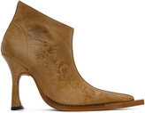 Thumbnail for your product : Charlotte Knowles Tan Embossed Serpent Heeled Boots