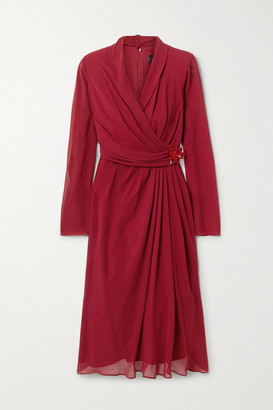 Max Mara Galizia Wrap-effect Embellished Draped Silk-georgette Dress - Claret