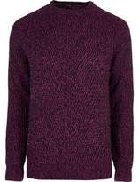 River Island Mens Pink textured crew neck jumper