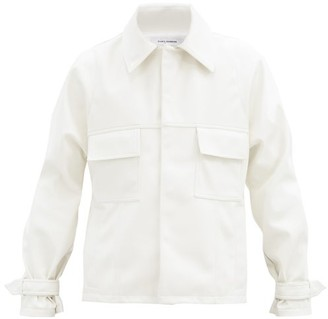 Bianca Saunders Cropped Faux-leather Jacket - White