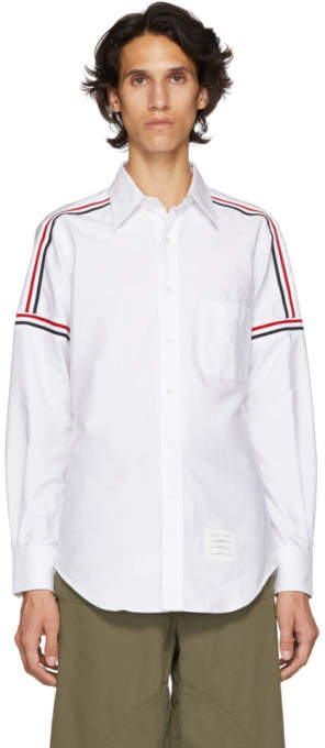 Thom Browne White Elastic Stripe Seamed Classic Point Collar Shirt