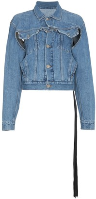 Unravel Project Snake Distressed Denim Jacket