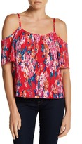 Hip Floral Plisse Cold Shoulder Blouse