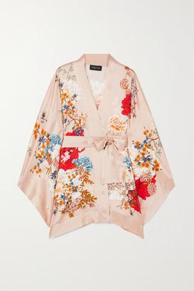 MENG Belted Floral-print Silk-satin Robe - Pastel pink