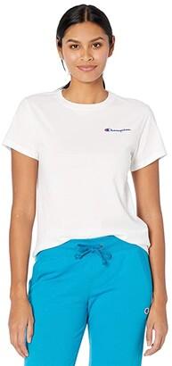 Champion Classic T-Shirt - Left Chest Script (Oxford Gray) Women's Clothing