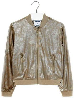 Mayoral Girls-Metallic-Gold-Bomber-Style-Jacket