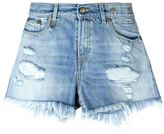 R 13 frayed hem distressed denim shorts