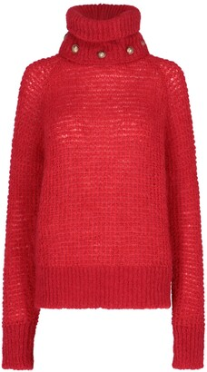 Balmain Button Embellished Turtleneck Sweater