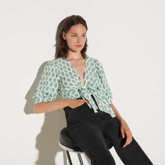Sandro Printed cropped top with tie fastening