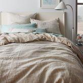 west elm Striped Belgian Flax Linen Duvet Cover + Shams - Pale Harbor