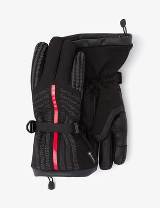 Prada Logo-embellished nylon and leather gloves