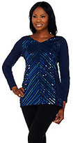 Bob Mackie As Is Bob Mackie's Long Sleeve V-Neck Knit Tunic with Sequin Detail
