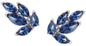 Swarovski Silver-Tone Crystal Leaf Stud Earrings