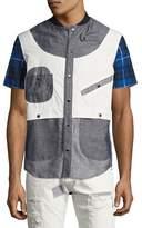 Mostly Heard Rarely Seen Geometric Patchwork Safari Shirt, Gray/Blue/White