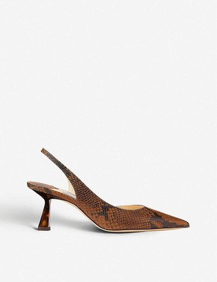 Jimmy Choo Fetto 65 snake-print leather heeled courts