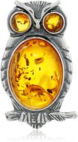 Amazon Collection Sterling Silver and Honey Amber Little Museum Collection 19th Century Owl Pin