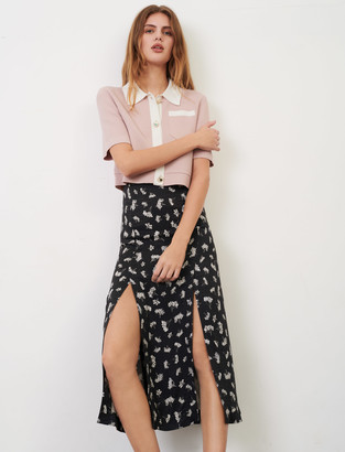 Maje Straight, slit skirt in printed jacquard