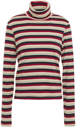 Stateside Striped Ribbed Jersey Turtleneck Top