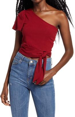 Project Social T Side Tie One-Shoulder Crop Top
