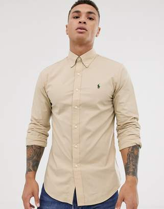 Polo Ralph Lauren slim fit stretch poplin button down shirt in tan with player logo