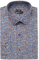 Bar III Men's Slim-Fit Stretch Easy Care Rust Blue Dandy Floral-Print Dress Shirt, Created for Macy's