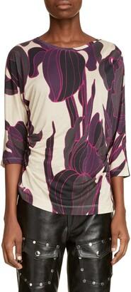 Dries Van Noten Haaro Ruched Floral T-Shirt